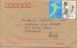 P. R. Of China Cover Sent Air Mail To Denmark 29-7-2002 Topic Stamps - 1949 - ... Volksrepubliek