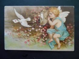 Angelot Parlant Dans Téléphone, Colombe Portant Une Lettre, Fleurs Roses - Gaufrée - Anges