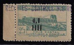 ALGÉRIE / ALGERIA 1945 - YT Colis Postaux 131** - Variété Surcharge Déplacée - 4f 1 Au Milieu - Colis Postaux