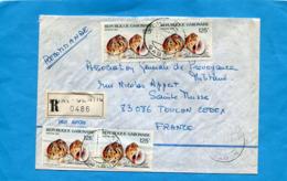 MARCOPHILIE- Lettre-REC- GABON>Françe-cad 1987-4 Stamps N°612 Coquillage -natica - Gabon (1960-...)