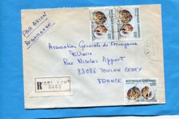 MARCOPHILIE- Lettre-REC- GABON>Françe-cad 1987-4 Stamps-1 Au Dos N°612 Coquillage -natica - Gabon (1960-...)