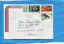 MARCOPHILIE- Lettre-NLLE CALEDONIE>Françe-cad-Boulou Paris 1987-4 Stamps-N°512+552 Poissons+542 Zosteros -oiseau - Briefe U. Dokumente