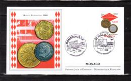 """"""" MONACO NUMISMATIQUE 2008 """" Sur Enveloppe 1er Jour De 2008. N° YT 2641. Parfait état FDC - Münzen"""