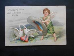 Angelot Essayant D'attraper Des Colombes Avec Un Grand Chapeau -  Gaufrée - Anges