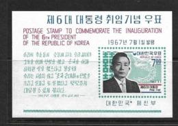 COREE DU SUD 1967 BLOC  PRESIDENT PAK CHUNG HEE YVERT N°B137 NEUF MNH** - Korea (Süd-)