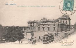 Espagne Madrid Vista General De Palacio Desde La Calle De Bailen Cpa Carte Animée Tram Tramway Attelage Cachet 1905 - Madrid