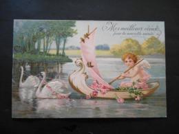 Angelot Dans Petit Bateau à Voile Plein De Roses Tiré Par Des Cygnes - Dorure -  Gaufrée - Anges
