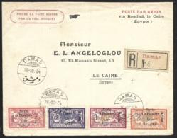 Enveloppe Recommandée De Damas Pour Le Caire Egypte-Poste Aérienne - Syria (1919-1945)