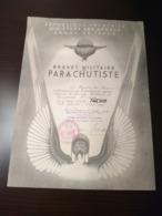 Brevet Militaire De Parachutiste Indochine 1951 - Documenti