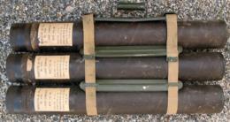 RARE Superbe Panier Et Ses 3 Containers Conditionnement Stokage Roquette LRAC 73mm LANCE ROQUETTE Sans Danger Collection - Armes Neutralisées