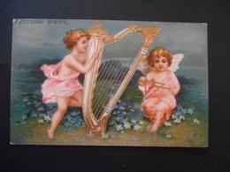 Angelot Jouant De La Harpe Et Angelot Jouant Du Triangle, Myosotis - Dorure -  Gaufrée - Anges