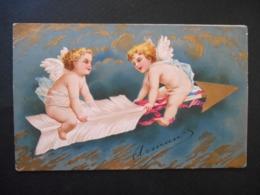 Angelots Assis Sur Une Flèche - Dorure -  Gaufrée - Anges