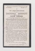 DOODSPRENTJE BOSSAERT EMERENCE WEDUWE DEBOONE VLAMERTINGE (1842 - 1919) - Imágenes Religiosas