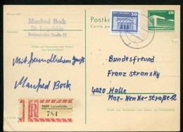 DDR P84 Postkarte EINSCHREIBEN Bedarfsgebraucht Leinefelde-Halle 198 - [6] República Democrática