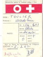 Carte De Groupe Sanguin - Hopital Cochin - Administration Générale De L'Assistance Publique à Paris - Cartes