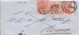225 --Lettera Del 20/2/1854 Da Venezia A Roma Con Tre Valori Di 15 Cent. Rosso - Provenienti Da Due Fogli - - Lombardo-Veneto