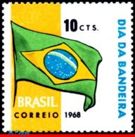 Ref. BR-1107 BRAZIL 1968 FLAGS, FLAG DAY, BRAZILIAN FLAG,, MNH 1V Sc# 1107 - Brésil
