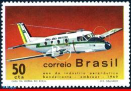 Ref. BR-1143 BRAZIL 1969 PLANES, AVIATION, NATIONAL AVIATION, INDUSTRY, BANDEIRANTE, MI# 1237, MNH 1V Sc# 1143 - Nuovi