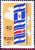 Ref. BR-1196 BRAZIL 1971 FLAGS, INDEPENDENCE OF CENTRAL, AMERICAN NATIONS, MI# 1290, MNH 1V Sc# 1196 - Brésil