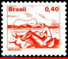 Ref. BR-1445-B BRAZIL 1980 JOBS, NATIONAL PROFESSIONS,1977, , COWBOY, PHOSPHORESCENT MNH 1V Sc# 1445 - Unused Stamps