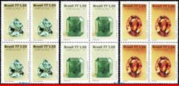 Ref. BR-1537-39-Q BRAZIL 1977 GEOLOGY, PRECIOUS STONES,, PORTUCALE 77, MI# 1629-31, BLOCKS MNH 12V Sc# 1537-1539 - Geologia