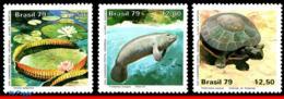 Ref. BR-1613-15 BRAZIL 1979 ANIMALS, FAUNA, AMAZON PARK,CONSERVATION,, PLANT,TURTLE,MI#1709-11,MNH 3V Sc# 1613-1615 - Tortues