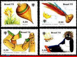 Ref. BR-1643-46 BRAZIL 1979 TOYS, CHILDREN GAMES, INTL YEAR OF THE CHILD,, EMBLEM,MI#1742-45,DOLL,MNH 4V Sc# 1643-1646 - Abeilles