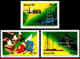 Ref. BR-1911-13 BRAZIL 1984 HISTORY, PRESIDENT GETULIO VARGAS,, MINING, ENERGY, MI# 2030-32, SET MNH 2V Sc# 1911-1913 - Brésil