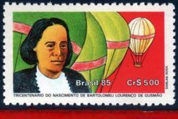 Ref. BR-2040 BRAZIL 1985 FAMOUS PEOPLE, BARTHOLOMEU DE GUSMAO,, INVENTOR, THE AEROSTAT, BALLOON, MNH 1V Sc# 2040 - Trasporti