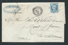 Lac Affran. Par Yvert 60 Oblit Gc 941 Chateauneuf /charente  , 7/06/1875   - Malc 9203 - Marcophilie (Lettres)
