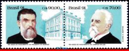 Ref. BR-2342A BRAZIL 1991 FAMOUS PEOPLE, FIRST CIVILIAN PRESIDENTS, ,C.SALLES,PRUD.MORAES,MI# 2443-44,MNH 2V Sc# 2342A - Brésil