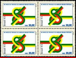 Ref. BR-2430-Q BRAZIL 1993 JOINT ISSUE, TREATY OF FRIENDSHIP WITH, PORTUGAL, MI# 2556, BLOCK MNH 4V Sc# 2430 - Joint Issues