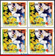 Ref. BR-2534-Q BRAZIL 1995 JOINT ISSUE, WITH JAPAN, FRIENDSHIP,, FLOWERS, MI# 2643, BLOCK MNH 4V Sc# 2534 - Gemeinschaftsausgaben