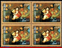 Ref. BR-2539-Q BRAZIL 1995 - WITH PORTUGAL, ST.ANTHONY, OF PADUA, PAINTING, MI# 2648, BLOCK MNH, JOINT ISSUE 4V Sc# 2539 - Gemeinschaftsausgaben