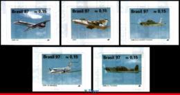 Ref. BR-2619-23 BRAZIL 1997 PLANES, AVIATION, BRAZILIAN AIRPLANES,, TUCANO, BRASILIA, MI# 2740-44,MNH 5V Sc# 2619-2623 - Aerei