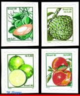 Ref. BR-2636~36F BRAZIL 1998 FRUITS, COCONUTS, SUGAR APPLE,, LEMONS, APPLES, SET SELF ADHESIVE MNH 4V Sc# 2636~36F - Fruits