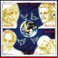 Ref. BR-2695 BRAZIL 1998 PEACE, BROTHERHOOD, FAMOUS, PEOPLE ,GLOBE, BIRDS, MI# 2911-14, MNH 4V Sc# 2695 - Mother Teresa