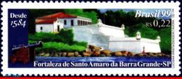 Ref. BR-2710 BRAZIL 1999 CASTLES, FORTIFICATIONS, FORTRESS OF ST.AMARO DA, BARRA GRANDE, SP, MI# 2937,MNH 1V Sc# 2710 - Brésil