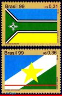 Ref. BR-2726-27 BRAZIL 1999 FLAGS, AMAPA AND RORAIMA FLAGS,, MI# 2977-78, SET MNH 2V Sc# 2726-2727 - Brésil