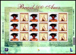 Ref. BR-2739-1FO BRAZIL 2000 HISTORY, DISCOVERY OF BRAZIL,SHIPS, , BOATS,MI# 3006,SHEET PERSONALIZED MNH 9V Sc# 2739 - Barche