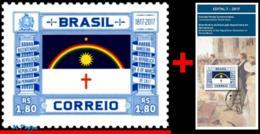 Ref. BR-V2017-10+E BRAZIL 2017 FLAGS, BICENTENNIAL REPUBLICAN, REVOLUTION IN PERNAMBUCO, MNH + BROCHURE 1V - Brésil