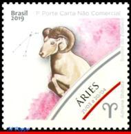 Ref. BR-V2019-02 BRAZIL 2019 ASTROLOGY, ZODIAC SIGNS, ARIES,, 1ST ISSUE, CONSTELLATION OF RAM, MNH 1V - Astrologie