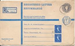 Great Britain Uprated Postal Stationery Registered Letter Sent To Denmark Bournemouth 1960 ?? - 1952-.... (Elizabeth II)