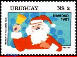 Ref. UR-1119 URUGUAY 1981 CHRISTMAS, RELIGION, SANTA CLAUS,, MNH 1V Sc# 1119 - Uruguay
