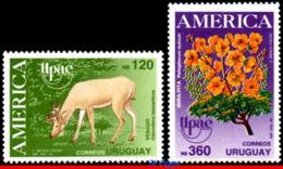Ref. UR-1355-56 URUGUAY 1990 FAUNA AND FLORA, UPAEP, AMERICA ISSUE,, FLOWERS, DEER, SET MNH 2V - Végétaux