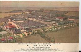 Carte Publicitaire C. PUZENAT Usines Saint Denis Bourbon Lancy Charles Meunier Machines Agricoles Varennes Sur Allier - France