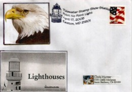 USA.Point No Point Lighthouse. Chesapeake Bay.Easton.(Maryland), Letter 2005 Sent To California - Enveloppes évenementielles