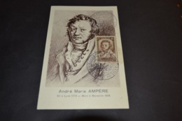 Rare Carte Maximum 1943 André Marie AMPERE N° 310 Expo Philatélique Lyon Hôtel De Ville - Cartes-Maximum