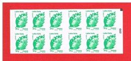 FRANCE - 2011 - CARNET N° 604-C1a -NEUF** NON PLIE AVEC CARRE NOIR EN HAUT - Marianne VERTE - TVP - Y&T - COTE : 38 € - Definitives