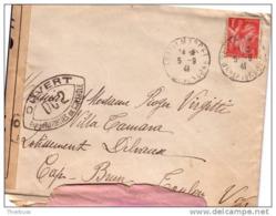 Lettre De St Marcel Bouches Du Rhone 5/9/1941 Affranchie à 1f Rouge Iris Avec Marque De Controle 002 - 1939-44 Iris